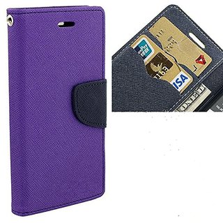 FANCY WALLET DIARY WITH STAND VIEW FLIP COVER For  Micromax Bolt A069  (Purple)
