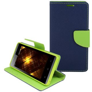 New Mercury Goospery Fancy Diary Wallet Flip Case Back Cover for  Micromax Bolt Q331  (Blue)