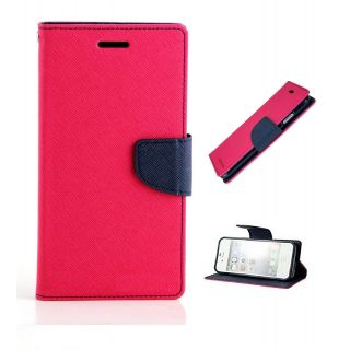 New Mercury Goospery Fancy Diary Wallet Flip Case Back Cover for  Reliance Lyf Wind 4  (Pink)
