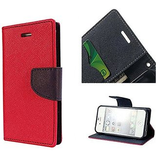 New Mercury Goospery Fancy Diary Wallet Flip Case Back Cover for   Micromax A106 Unite 2 (RED)