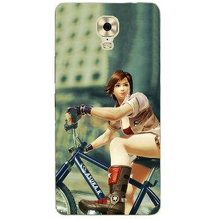 3D Designer Back Cover for Gionee Marathon M6 Plus :: Girl on Racing Bicycle  ::  Gionee Marathon M6 Plus Designer Hard Plastic Case (Eagle-102)