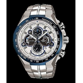 CASIO EDIFICE EF-554D-7AV WHITE DIAL BLUE RING SPORTS CHRONOGRAPH MENS WATCH