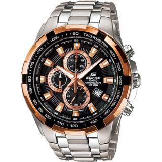 CASIO EDIFICE EF-539D-1A5V BLACK DIAL COPPER RING SPORTS CHRONOGRAPH MENS WATCH
