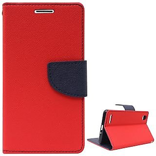 New Mercury Goospery Fancy Diary Wallet Flip Case Back Cover for   Micromax Canvas Blaze 4G Q400 (RED)