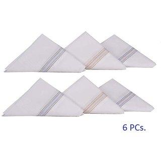 Color Striped White Handkerchief Set - 6 Piece Pack