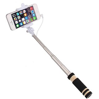 Mini Black Selfie Stick (Pocket) for Micromax A68 Smarty by Creative