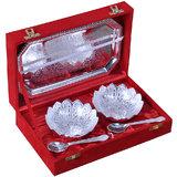 Rangsthali Elegant Kamal Flower Designer Silver Plated Set Of 5 Pcs With Box