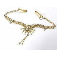 White Alloy Gold Plated Waist Belt For Women