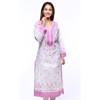ADA Lucknowi Chikan Needlecraft Ethnic Women's Kurti Casual  Party Wear  A129494