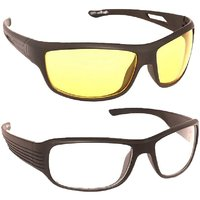 Clear Vision Wraparound Day And Night Driving Glasses - Pack of 2