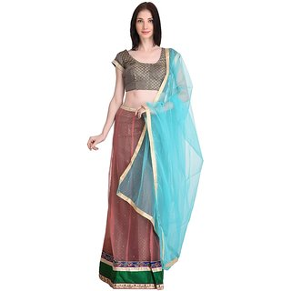 Stylogue Maroon Blue Lehenga With Semi Stitched Blouse
