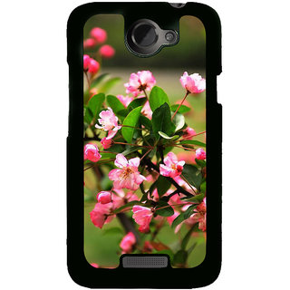 Fuson Designer Back Cover For HTC One X :: HTC One X+ :: HTC One X Plus :: HTC One XT (Pink Flowers Baby Pink Plants Garden Bunch Of Flowers)