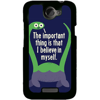 Fuson Designer Back Cover For HTC One X :: HTC One X+ :: HTC One X Plus :: HTC One XT (Believe Trust Confidence Dinoasaur Green)