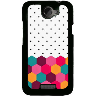 Fuson Designer Back Cover For HTC One X :: HTC One X+ :: HTC One X Plus :: HTC One XT (Black Dots Red Pentagon Pink Pentagon Green Pentagon Yellow Pentagon)