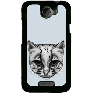 Fuson Designer Back Cover For HTC One X :: HTC One X+ :: HTC One X Plus :: HTC One XT (Cat Cat Face White Cat Dull Looking Cat Blue)