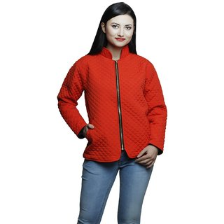 Raabta Red Quilted Jacket with Full Sleevea