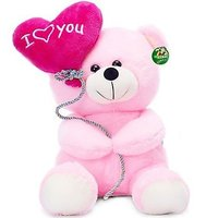 Deals India I Love You Balloon Heart Teddy Pink 22 cm