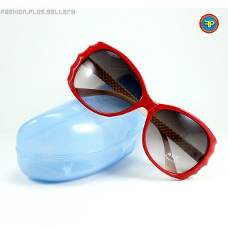 IMPORTED STYLISH UV SUNGLASSES FOR GIRLS & WOMEN - RED (SGW-7) + CASE