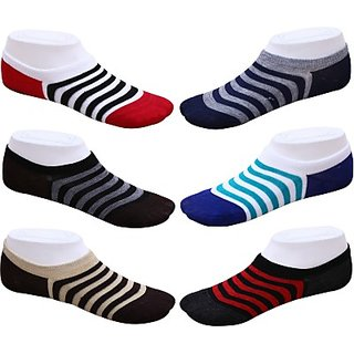 DDH Mens Solid No Show Socks (Pack of 6)-strip