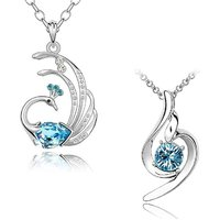 Om Jewells Valentine Collection Blue crystal Feathery Peacock and Curvy Pendant Necklace Combo CO100002