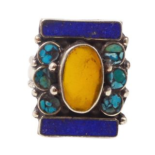 Silvesto India Multicolor Others Silver Plated Ring For Women