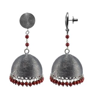 Silvesto India Red Alloy Silver Plated Jhumkis For Girl