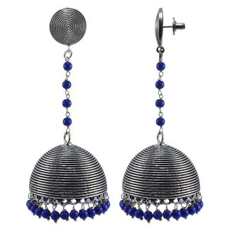 Silvesto India Blue Alloy Silver Plated Jhumkis For Women