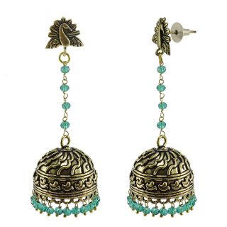 Silvesto India Green Brass & Copper Non Plated Jhumkis For Women