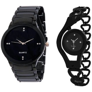 Authentic iik black and black glory analog watch for girls boys.