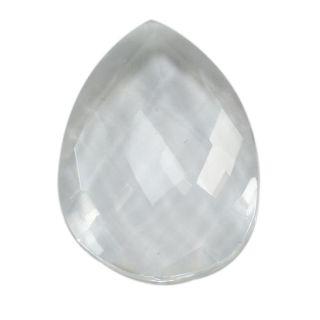 Silvesto India Clear Quartz Pear Checker Board 15.9 Cts Loose Gemstone PG-3296
