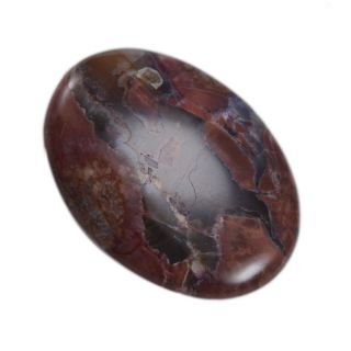 Silvesto India Natural Red, Black & White Jasper Oval Cabochon 43 Cts Loose Gemstone PG-23022