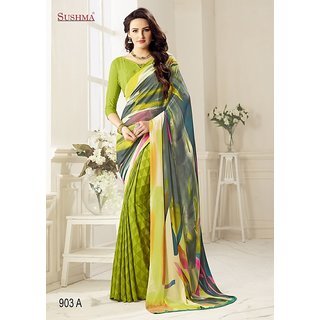 sehgal sons Green  Crepe  Printed Saree With Blouse