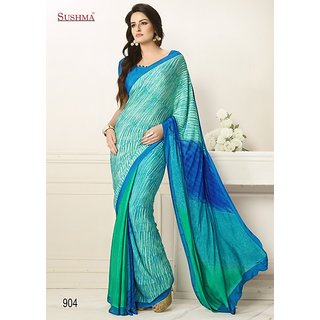 Sky Crape Printed Sea Green Blue Color Saree-3130