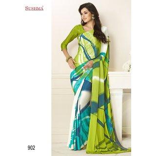 Sky Crape Printed White Mehandi Green Color Saree-3127