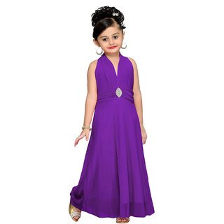 Aarika Purple Girls Self Design Gown