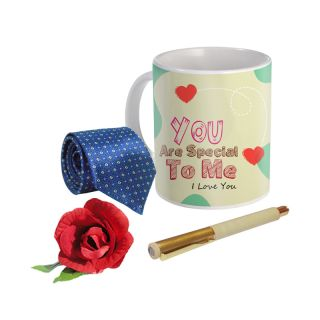 Sky Trends Valentine Combo Gift For Husband Printed Coffee Mug Fancy Tie Artyficial Rose And Smooth Wrinter Pen Best Surprised Gift For Husband STG-054