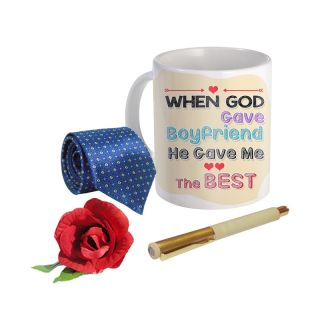 Sky Trends Valentine Combo Gift For Friend Printed Coffee Mug Fancy Tie Artyficial Rose And Smooth Wrinter Pen Best Surprised Gift For Friend STG-054