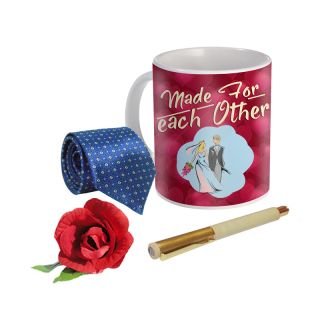 Sky Trends Valentine Combo Gift For Boyfriend Printed Coffee Mug Fancy Tie Artyficial Rose And Smooth Wrinter Pen Best Surprised Gift For Boyfriend STG-055
