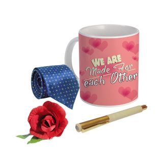 Sky Trends Valentine Combo Gift For Husband Printed Coffee Mug Fancy Tie Artyficial Rose And Smooth Wrinter Pen Best Surprised Gift For Husband STG-055