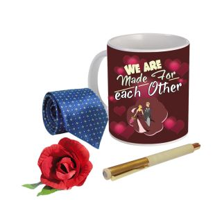 Sky Trends Valentine Combo Gift For Friend Printed Coffee Mug Fancy Tie Artyficial Rose And Smooth Wrinter Pen Best Surprised Gift For Friend STG-055