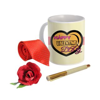 Sky Trends Valentine Combo Gift For Boyfriend Printed Coffee Mug Fancy Tie Artyficial Rose And Smooth Wrinter Pen Best Surprised Gift For Boyfriend STG-031
