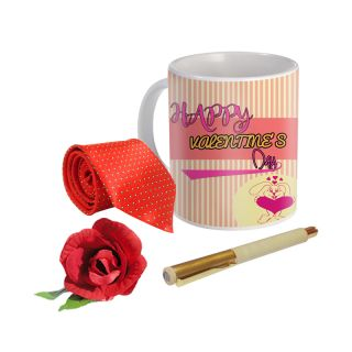 Sky Trends Valentine Combo Gift For Husband Printed Coffee Mug Fancy Tie Artyficial Rose And Smooth Wrinter Pen Best Surprised Gift For Husband STG-031