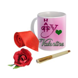 Sky Trends Valentine Combo Gift For Boyfriend Printed Coffee Mug Fancy Tie Artyficial Rose And Smooth Wrinter Pen Best Surprised Gift For Boyfriend STG-032