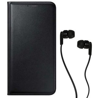 Flip cover For Panasonic Eluga I2 (BLACK) With Champ Earphone(3.5MM JACK)