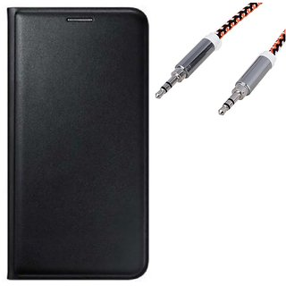 Flip cover For Lava A76 (BLACK) With Premium  Aux Cable-Color May Vary