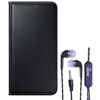 Flip cover For Lava A71 (BLACK) With Tarang Earphone Wired With Mic