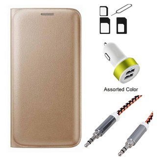 Flip cover For Vivo Y51 (GOLD) With Noosy Sim Adapter + 2 Port USB Car Adapter + Metal Aux Cable- 1 Meter(colour may vary)