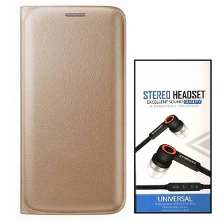Flip cover For Motorola Moto E3 (GOLD) With Universal Earphone(3.5mm jack)