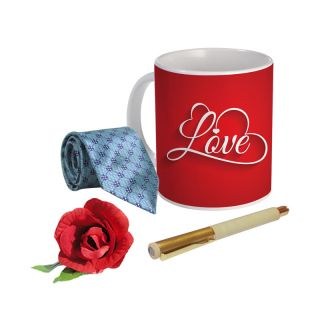 Sky Trends Valentine Combo Gift For Husband Printed Coffee Mug Fancy Tie Artyficial Rose And Smooth Wrinter Pen Best Surprised Gift For Husband STG-072