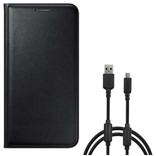 Flip cover For Samsung Galaxy On7 Pro (BLACK) With Genuine Micro USB Charging Data Cable